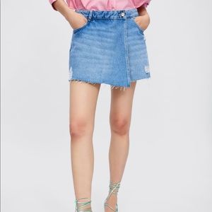 Denim ripped skort, short/skirt